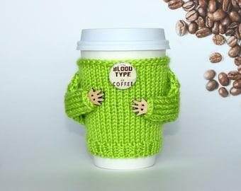 Coffee cozy with arms. My Blood Type is Coffee. Travel mug cozy.  Knit mug hug. Lime. Coffee funny. Gift idea. Mug sweater. Cup sleeve.