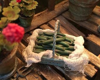 Dolls house 12th scale handmade shabby basket of beans