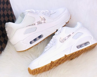 WMNS Nike Air Max 90 weiss   white mit Swarovski Elements Luxus Sneaker  customized Crystal d7e9ebbd108f