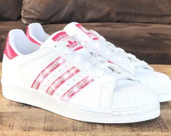 ad0c5ff6eb70b Crystal Adidas Superstar J Luxus Sneakers mit Swarovski Elements white    pink customized shoes