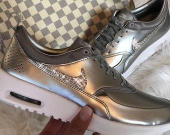 White Glitzer mit Swarovski Elements Crystal  WMNS Nike Presto Fly Sand