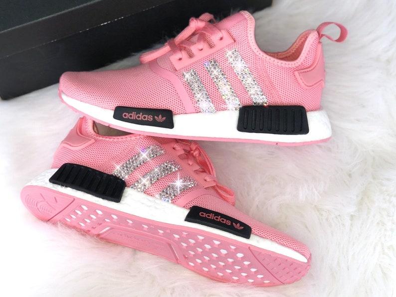 innovative design 3efbb b468d Crystal WMNS Adidas NMD R 1 J Luxus Sneakers mit Swarovski Elements rosa  pink customized