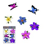 FLOWER Small Multi-coloured Frangipani Plumeria + BUTTERFLY Animal Vinyl Window Bumper Car Stickers Decals Laptop, Caravans-ST00041MC_SML