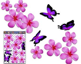 blu frangipani plumeria fiore ST00064BL/_SML Adesivo auto libellula animale Adesivi JAS