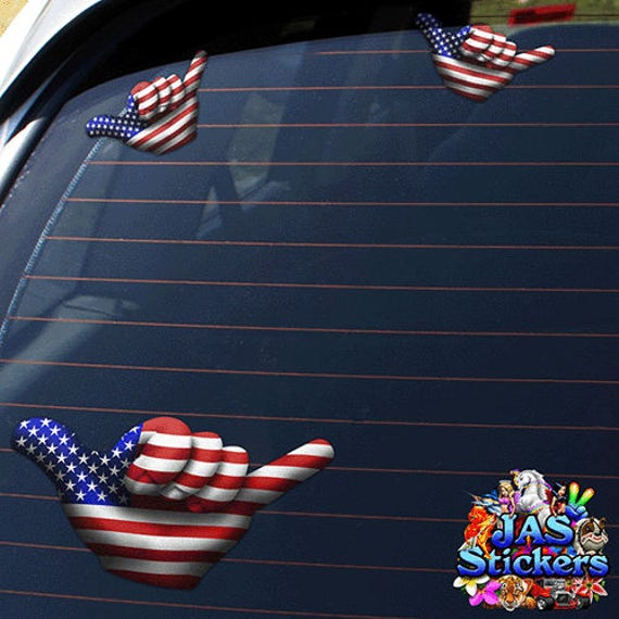 JAS Stickers Small American USA Flag Hangloose Funny Car Stickers Decals ST00055/_SML