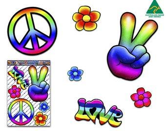 Rainbow HIPPIE PEACE LOVE Vinyl Window Bumper Car Sticker Decal Pack For Laptop, Caravans, Mixer, Wheelie Bins-ST007- Australia Made