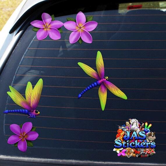 JAS pegatinas ST00064BL/_SML Lib/élula y plumeria frangipani azul peque/ña flor animal paquete de coches pegatinas
