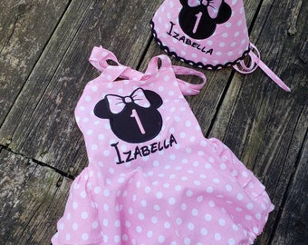 minnie outfit smash the cake baby girl Anniversary red dots