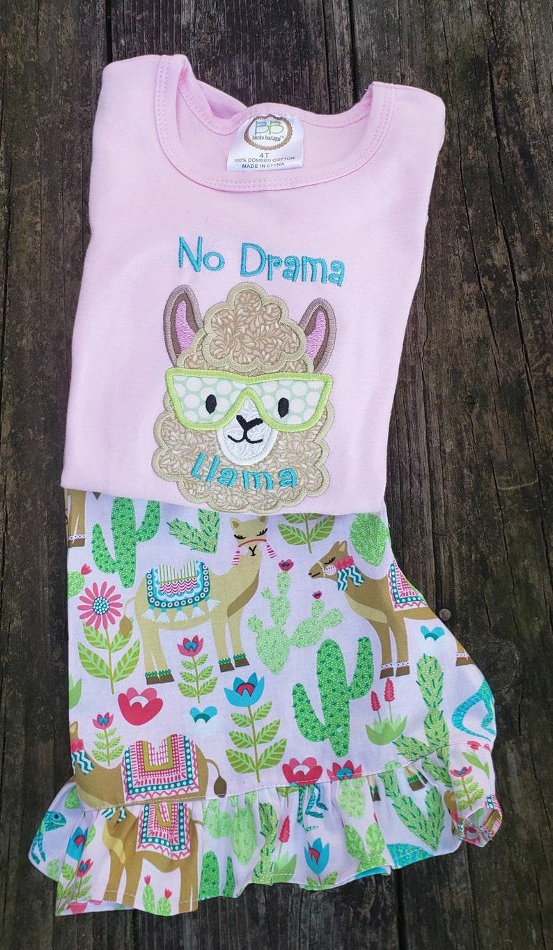 5937aea2983c Lama llama No Drama Llama Lama applique Girls clothing