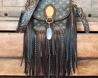 a675b54d1 Turquoise beaded fringe Louis Vuitton Saint Cloud gm crossbody bag