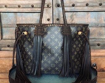 a515b93dc67 Fringe Braided Louis Vuitton Neverfull MM Dark Brown