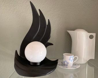 Lampe à poser vintage 70's vague céramique noire globe opaline vintage lamps flamme Art Deco design