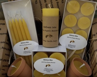 """Beeswax candle gift set! 4 pure organic beeswax votive candles, 12 beeswax tealights, 1 2""""x4"""" beeswax pillar, and 5 7"""" beeswax taper candles"""