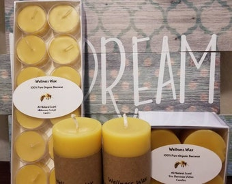 """Pure organic beeswax candle gift set. 4 beeswax votive candles, 2 2""""x4"""" beeswax pillar candles and 12 beeswax tealight candles."""