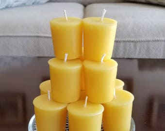 100 2 oz Organic yellow beeswax votive candles. Pure organic yellow beeswax votives. Scented or unscented beeswax candles.