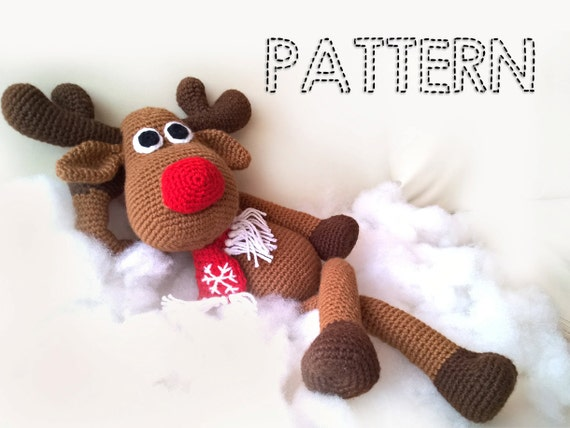 Sale Crochet Christmas Deer Patterns Rudolph Toy Reindeer Etsy