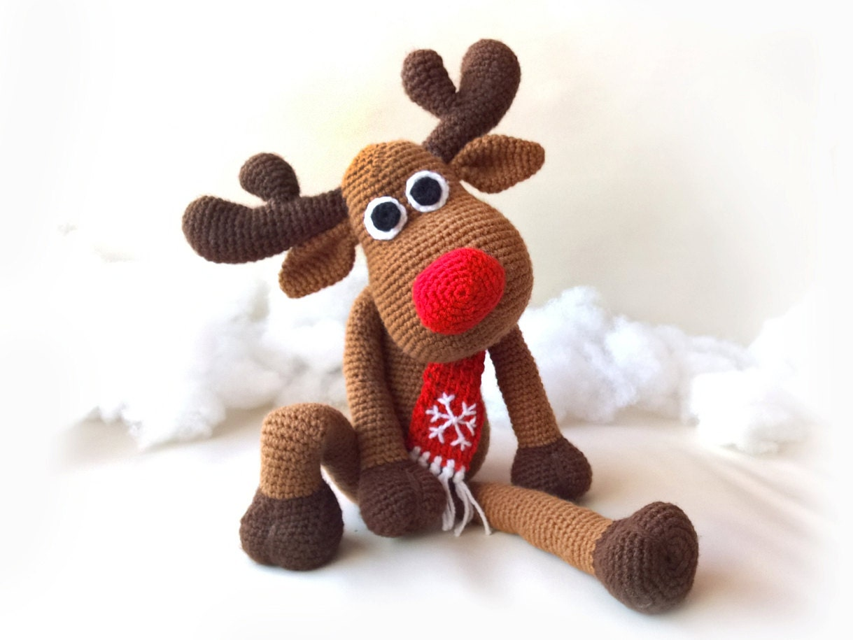 SALE Crochet Christmas Deer PATTERNS, Rudolph Toy Reindeer Amigurumi ...