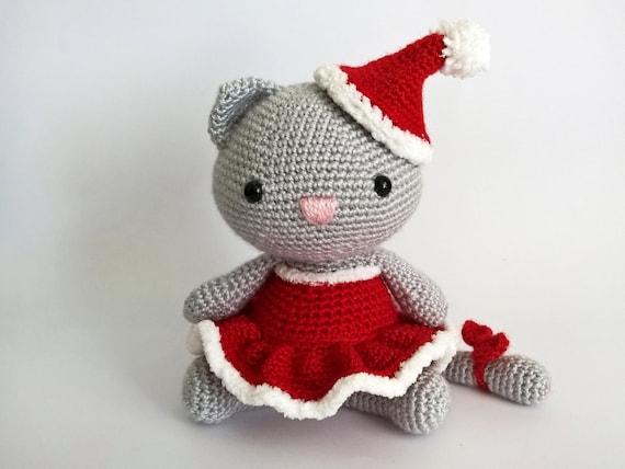 Kerst Haak Kat Amigurumi Katten Gehaakte Dieren Kitty Etsy