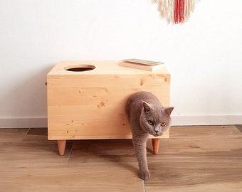 Cat House, Pet Furniture, Cat Bed, Cat Hideaway, Modern Pet Cabinet made of spruce wood, Bunny House