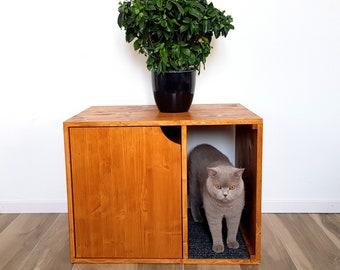 kitty litter box furniture living room cat litter box cover pet furniture house modern cabinet made of spruce wood box furniture etsy