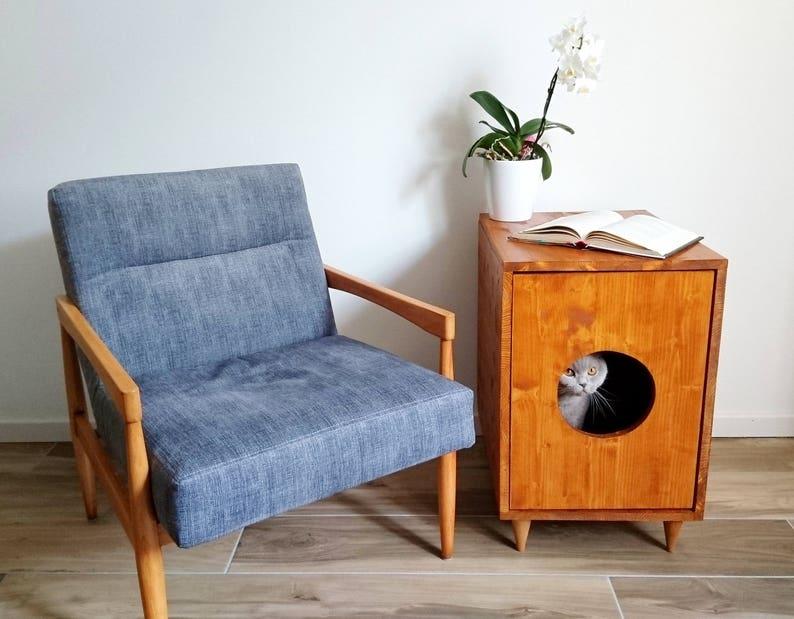 Cat Litter Box Cover Pet Furniture Cat House Modern Litter Light walnut