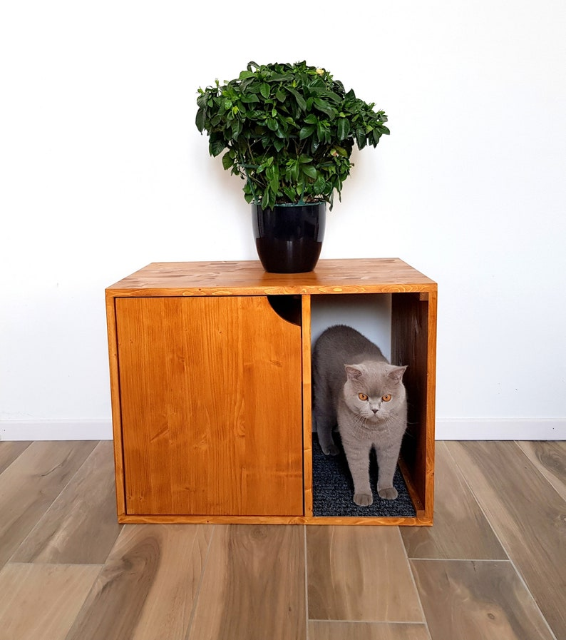 Cat Litter Box Cover Pet Furniture Cat House Modern Litter Etsy