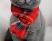 Cat Scarf, Dog Scarf Red Plaid Fleece, Pet Neckwear, Puppy Scarf Fleece