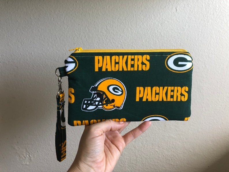 Green Bay Women/'s Green Bay Fabric Green Bay Packers Wristlet Green Bay Packers Green Bay Wristlet Green Bay Purse Green Bay Gift