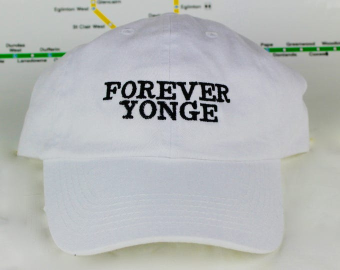 """Featured listing image: Limited Edition Sale Forever Yonge! White """"416"""" Dad Caps. Original, Strap backs, The 6ix, 416 Hats, 647, GTA, YYZ, Yonge St., Toronto!"""