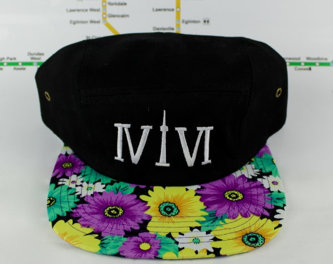 Featured listing image: Floral Funkiness Forever! Toronto Beautiful 416 Five Panel hats. Original, Custom, Teal Funky Floral, CN Tower, The Six, 6ix, Roman Numerals
