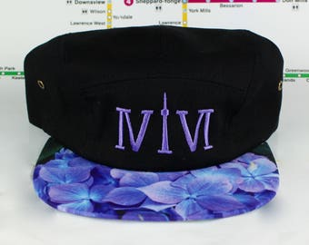 "Blueish/Purple Floral 5 Panel! 416 5 Panels! The Roman Numerals Stand For ""416"", Toronto's Area code, With The ""1"" Resembling The CN Tower."