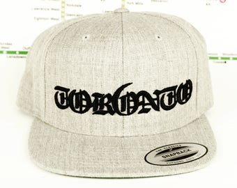 17cad4b1341 Grey-ter Tor6nto Area Custom Snap Back Hats. 3D Raised Old English  Embroidery Hats