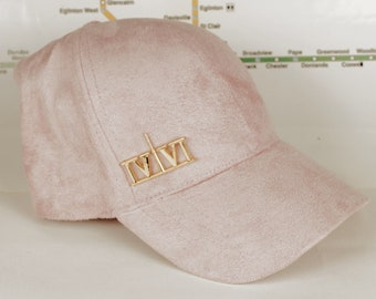 "Baby Pink Suede ""416"" Golden Chrome Collection Dad Caps. Original, Custom, CN Tower, The Six, 6ix, 416, Area Code Hats with Roman Numerals!"