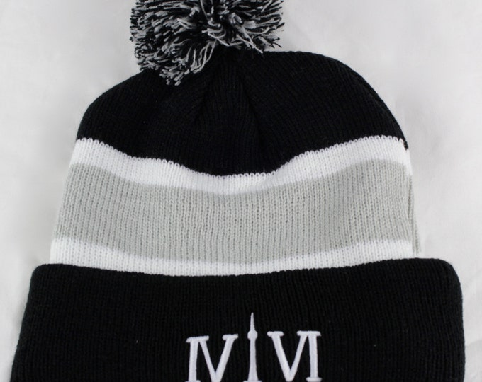 "Featured listing image: Toronto 416 PomPom-Style Toques. The Roman Numerals Stand For 416, With The ""1"" Resembling The CN Tower."