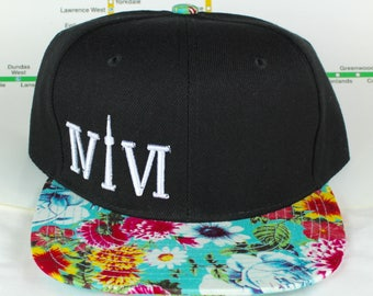 Fresh Fly and Teal Floral! Beautiful 416 hats. Original, Custom Snap backs, CN Tower, The Six, 6ix, Area Code, 416 Hats, 647, Roman Numerals