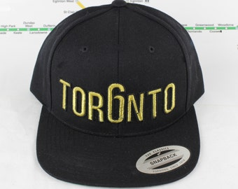 Metallic Gold Toronto Rep'n Snap Back Hat! YYZ, GTA, Tor6nto, Golden, 647, 905, 416, Roman Numerals, T Dot, The 6ix, Six, 6, Unisex, Bling!