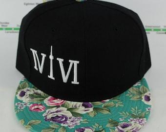 Floral Teal 416 hats. Original, Custom, One of a Kind, Snap backs, CN Tower, The Six, 6ix, Area Code, 416 Hats, 647, Roman Numerals
