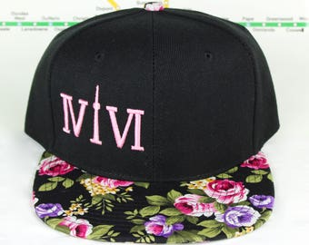 Pink Floral Fresh and Fly! Beautiful 416 hats. Original, Custom Snap backs, CN Tower, The Six, 6ix, Area Code 416 Hat Toronto Roman Numerals
