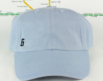 "Baby Blues! Low-Key ""The 6"" Toronto Baby Blue Dad Caps. Unstructured, Strap Back, YYZ, GTA, CN Tower, The 6ix, T Dot, 90's Era, Dad Hats!"