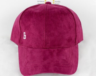 """Minimalist Maroon! Suede """"The 6"""" Collection Dad Caps. Original, Custom, CN Tower, The Six, 6ix, 416, Area Code Hats with Roman Numerals!"""