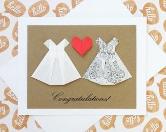 Lesbian Wedding Card: Congratulations - Handmade Origami Wedding Card - 3D Wedding - White Dress - Black & White - Mrs and Mrs - Minimalist