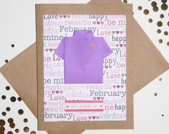 Valentine's Day Card for him: Origami Shirt Card - Valentine's Card for Husband - Boyfriend - Happy Valentine's Day - Heart - Purple Shirt