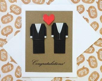 Gay Wedding Card: Heart Card - Origami Wedding Card - 3D Wedding Card - Black Suit - Mr and Mr - Minimalist Card - Free Shipping - Tracking