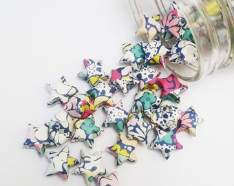 48 Flower Origami Stars: Mini Stars - Pink - Teal - Yellow - Black - Origami Star Decorations - Folded Paper - Baby Shower Decorations