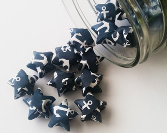 48 Navy Anchor Origami Stars: Anchors - Labor Day - Navy - Military - Mini Origami Star Decorations - Folded Paper Stars - Lucky Stars