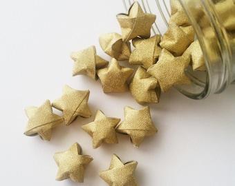 Gold Origami Stars: Metallic Glitter - No Shed - Mini Stars - Star Decorations - Anniversary - Baby Shower - Gold - Wedding - New Year R