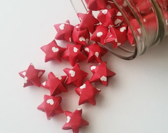48 Heart Origami Stars: Red and White - Red Mini Stars - Origami Star Decorations - Folded Paper Stars - Lucky Stars - Valentine's Day
