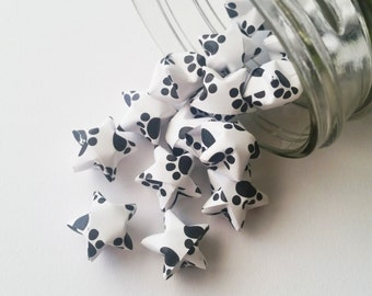 48 Black and White Origami Stars: Paw Print Mini Stars -  Cat - Dog - Animal Lover - Origami Decorations - Paper Stars - Table Decorations
