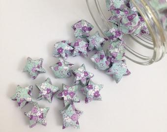 48 Seafoam Origami Stars: Blue Green - Purple - Flowers - Mini Stars - Origami Star Decorations - Folded Paper - Baby Shower - Lucky Stars