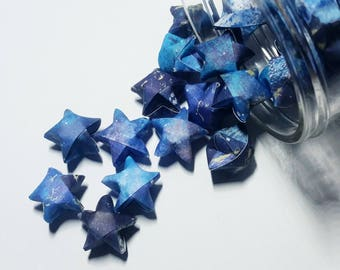 48 Starry Night Origami Stars: Outer Space - Celestial - Deep Space - Cosmos - Navy Blue - White - Mini Stars - Origami Star Decorations